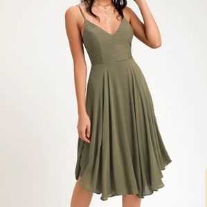Lulus Troulos Lace - Up Midi Dress in Olive Green